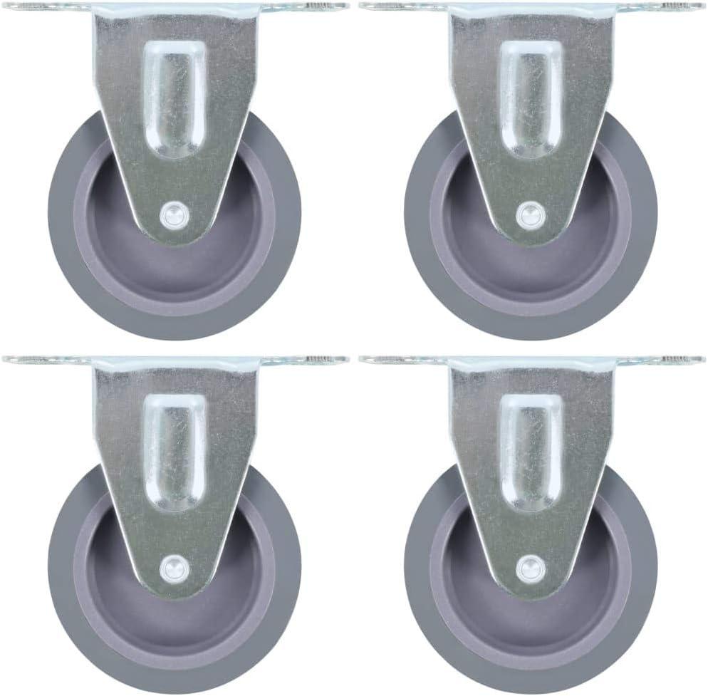 vidaXL 4x Ruedas Fijas Accesorios para Transportes Industriales Industria Manipulación Materiales Resistentes Superficie Suave Robustas Diàmetro 75mm