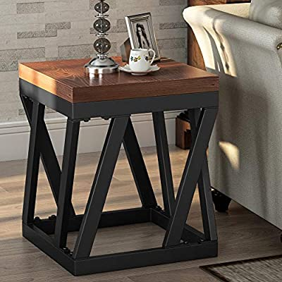 "Nanmu Lane HOME-F1055 End Table Brown - Rustic Style Chairside Table/Nightstand: A perfect fit for any rustic/vintage style living rooms and bedrooms. An essential small side table/accent table for home decor Wood Grain Surface, Stain Resistance: The tabletop will not pick up fingerprints easily as other lacquer finish side end tables Thick Board: The tabletop is made of 1.18""thick board with wood veneer finish, and the durable material used ensures that this end table can hold up things thereon for a long time - bedroom-furniture, nightstands, bedroom - 51nTiNjOw6L. SS400  -"