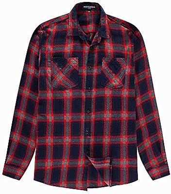 LIUXING-TUMI - Camisa de Mezclilla de Manga Larga de algodón a Cuadros, Talla Grande, para Hombre, Talla M, L, XL, XXL, 3XL, algodón, Rojo, Medium: Amazon.es: Hogar
