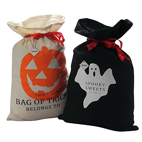 X.Sem Halloween Tote Bags 2-Pack Cotton Gift Bag - Spooky Sweets and Bag of Tricks Drawstring Candy (Halloween Gift Wrapper)