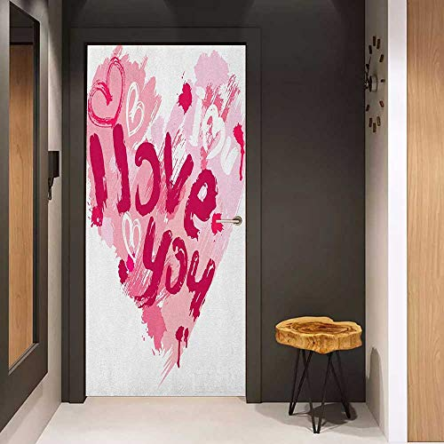 Onefzc Glass Door Sticker Decals I Love You Paintbrush Valentines Message Best Friends Forever February Wedding Engaged Door Mural Free Sticker W23 x H70 Pale Pink Ruby