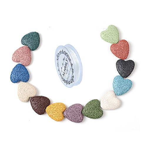 XLHMILY 19PCS 20x20x8mm Mixed Color Loose Heart-Shaped Lava Stone for Essential Oils Natural Healing Gemstone Volcanic Rock Beads Strand for Bracelet Necklace DIY Jewelry Making with Elastic Cord