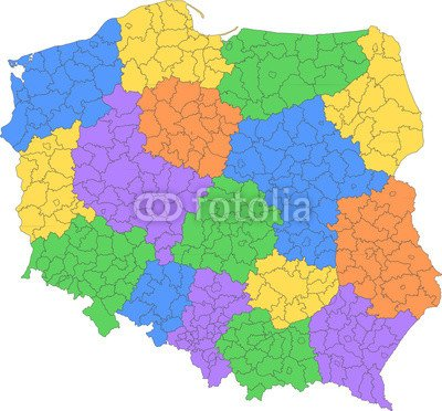 Polska Mapa Powiatow 54432220 Canvas 80 X 70 Cm Amazon Co Uk