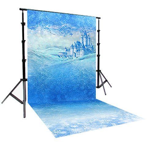 PRINTED Christmas FROZEN SNOW PHOTOGRAPHY BACKGROUND AND FLOOR DROP BACKDROP COMBO COMBO138 BOTH ITEMS a 5'x6' Titanium Cloth and a 4'x5' Candy Floor - Frozen Photography Background