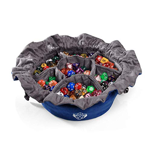 CardKingPro Immense Dice Bags with Pockets - Blue - Capacity 150+ Dice - Great for Dice Hoarders - Large Dice Bag