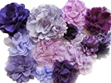 YYCRAFT 15pcs Purple/Lavender Chiffon Lace Hair Flower for Girls Headband Baby Flowers Bows,Crafts,Party Decoration(2'-4.5')