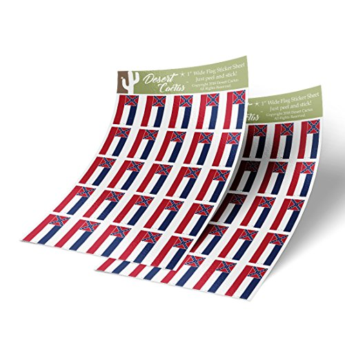Mississippi MS State Flag Sticker Decal 1 Inch Rectangle Two Sheets 50 Total Pieces Kids Logo Scrapbook Car Vinyl Window Bumper Laptop R
