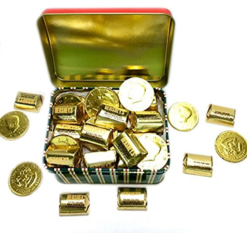 Happy Holidays ~ Fun Christmas Treasure Tin ~ Filled Hersheys Gold Nuggets and Gold Coins