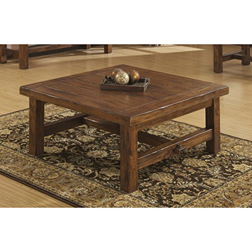 Emerald Home Chambers Creek Brown Coffee Table with Plank Style Top And Straight Timber (Leg Square Oak Cocktail Table)