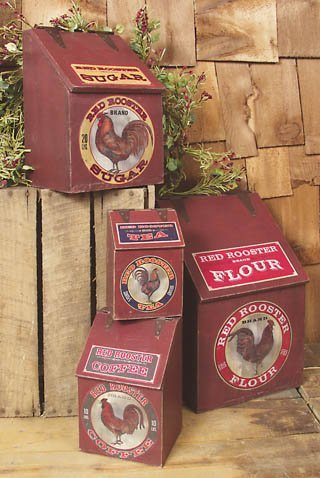 ''Red Rooster'' Wood Kitchen Canister Set