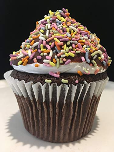 (Giant Double Chocolate Birthday Cupcake I Gift with Chocolate Dipped Marshmallow Top and Sprinkles, Packed with a Birthday Candle)