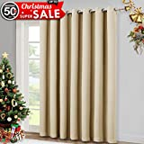 100' Wide Patio Door Curtain - Energy Smart & Noise Reducing Grommet Thermal Insulated Wide Width Drapes, Sliding door Curtain by NICETOWN (Warm Beige, W100' x L84')
