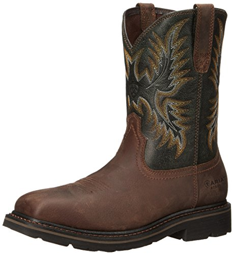 (Ariat Men's Sierra Wide Square Steel Toe Work Boot, Dark Brown/ Pine Green, 9.5 D US)