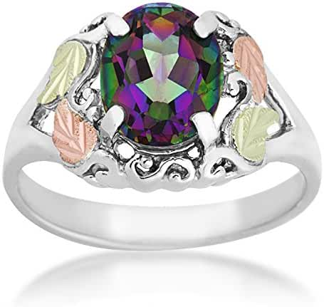 Mystic Fire Topaz Fancy Scroll Ring, Sterling Silver, 12k Green and Rose Gold Black Hills Gold Motif