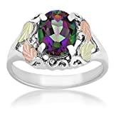 Mystic Fire Topaz Fancy Scroll Ring, Sterling Silver, 12k Green and Rose Gold Black Hills Gold Motif, Size 6.5