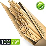 100% Biodegradable & Compostable Eco Friendly Long Wheat Straws - Pack of 100 - Natural and Disposable Drinking Straws - Better Alternative to Plastic, Paper, Stainless-Steel (Long 100 pcs)
