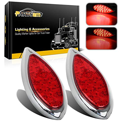 2PCS Red 35 LED Chrome Tear Drop Truck Trailer Stop Turn Brake Tail Lights Sealed w/High Low Brightness