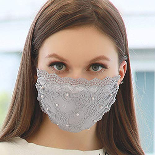 TseanYi Fashion Lace Mask with Pearl Veil Cover Face Mask Sexy Decoration Mask Jewelry for Women and Girls (Gray)