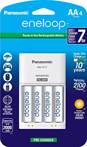- Panasonic K-KJ17MCA4BA Advanced Individual Cell Battery Charger Pack with 4 AA eneloop 2100 Cycle Rechargeable Batteries
