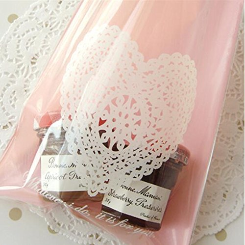 Yunko 100 Pcs Lace Heart DIY Soap Cookies Candy Bakery Cello
