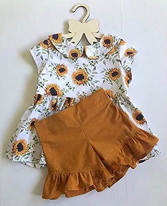 6T Kids Baby Girl Shorts Outfits Sunflower Floral Ruffle Dress Shirt Tops+Short Pants Summer Dresses 2Pc Clothes Set