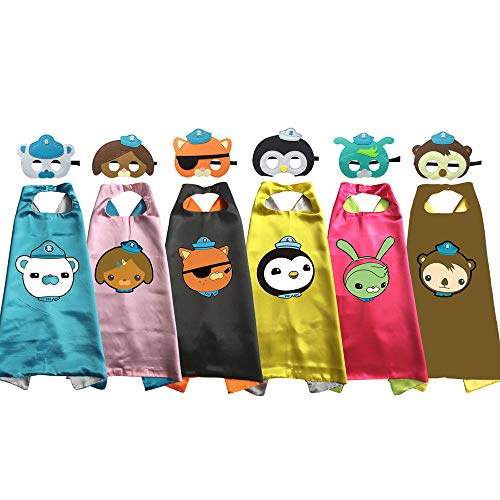 Octonauts Cape and Mask Costumes Kids Birthday Party Shellington Kwazii Barnacles Dashi Peso Cosplay (6pcs Party Set) -