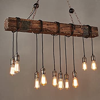 Jiuzhuo Farmhouse Style Dark Distressed Wood Beam Large Linear Island Pendant Light 10-Light Chandelier Lighting Hanging Ceiling Fixture