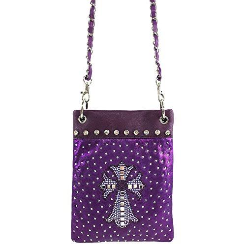 Rhinestone Messenger Gleaming West Purse Handbag Shiny Purse Body Cross Cross Bling Purple Glass Justin Mini IgpBaqWw