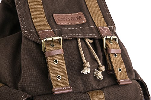Gootium 21101CF Specially High Density Thick Canvas Backpack Rucksack,Coffee by Gootium (Image #5)