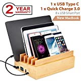 UL Certified 100W 10 Port Bamboo Charging Docking Station for Multiple Device, Quick Charge 3.0, Type C Wood Charger Organizer Compatible with iPhone Macbook iPad Samsung- Avantree PowerPlant