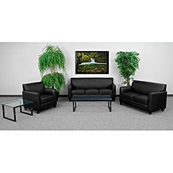 Flash Furniture HERCULES Diplomat Series Black Leather Loveseat