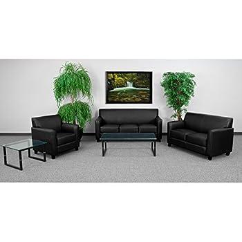 Flash Furniture HERCULES Diplomat Series Black Leather Loveseat