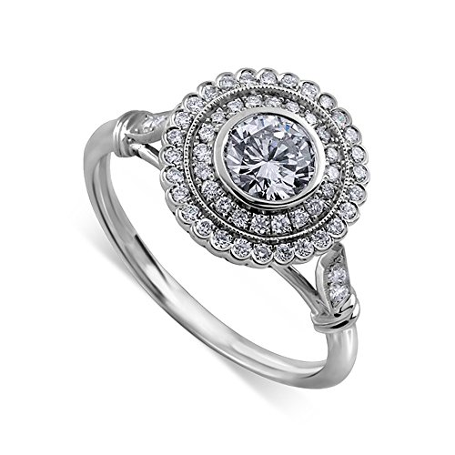 (Art Deco Halo Style Platinum Diamond Engagement Ring Mounting 12mm Wide)