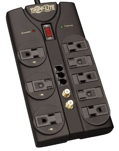 8 Outlet Surge Protector Power Strip, 8ft Cord, Right-Angle Plug, Tel/Fax/Modem/Coax Protection, RJ11, & $150,000 INSURANCE () - Tripp Lite TLP808TELTV