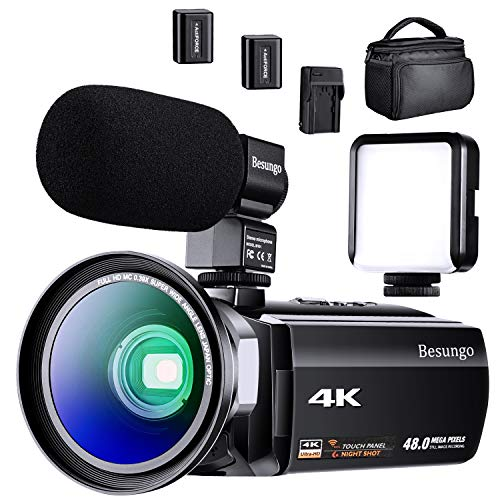 4K Camcorder, Video Camera, Vlogging YouTube Recorder Camera 60FPS 48MP Ultra HD WiFi IR Night Vision 3.0″ IPS Touch Screen with Microphone, Wide Angle Lens, LED Video Light, 2 Batteries