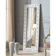 Kings Brand Furniture Modern Upholstered Tufted Standing Floor Mirror, White Vinyl