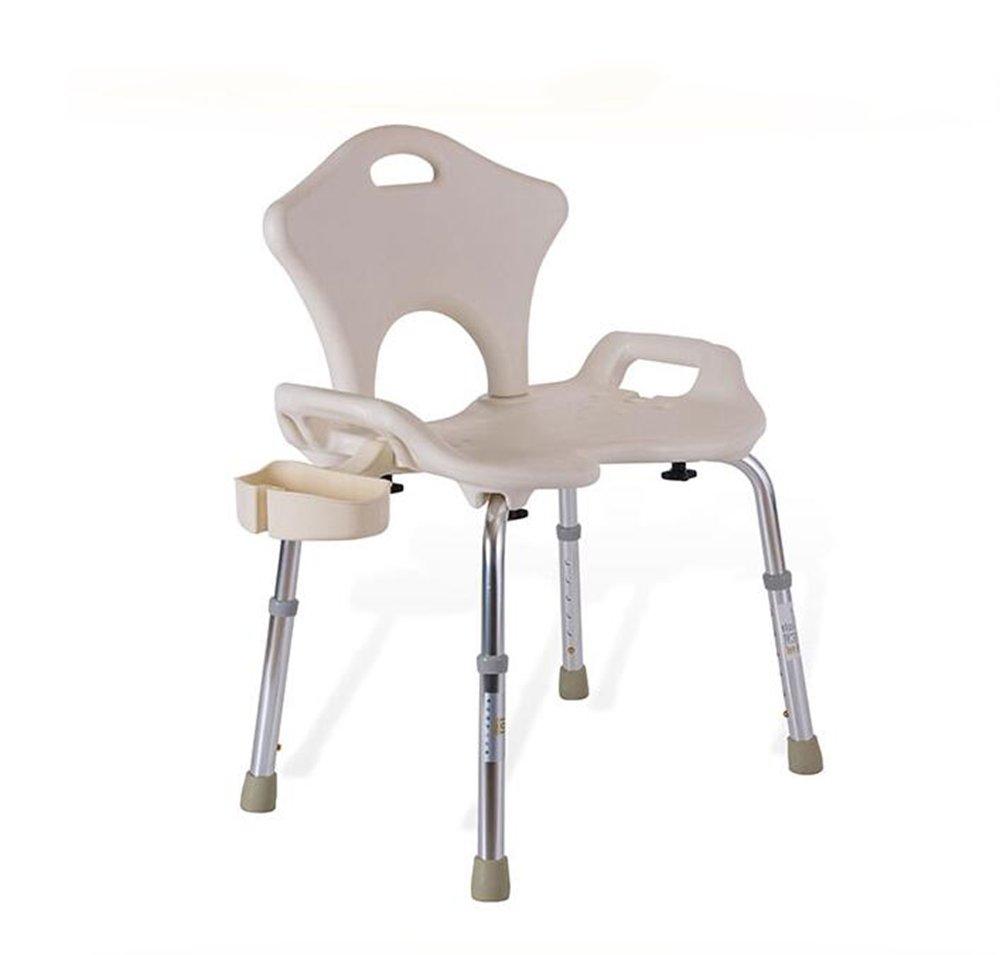 Shariv-シャワーチェア バスチェア白/高齢者のためのアルミバススツール/妊婦バスチェア/6スピード調節可能なバスチェア/高齢者ケアバスルームシャワーベンチ/重量130KG/70.5 * 78 *(43.5-56)cm B07DKXL3HC