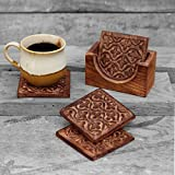 Rustic Wooden Set of 4 Square Drink Coasters for Tea Coffee Beer Mug Wine Glass with Holder Hand Carved with Floral Motif Barware Kitchen Dining Accessories