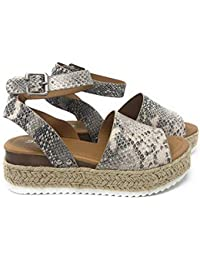 968efb36beb7 Womens Casual Espadrilles Trim Rubber Sole Flatform Studded Wedge Buckle  Ankle Strap Open Toe Sandals