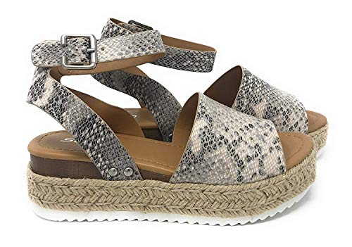 SODA Casual Espadrilles Trim Rubber Sole Flatform Studded Wedge Buckle Ankle Strap Open Toe Sandal (7.5 M US, Beige/Python)