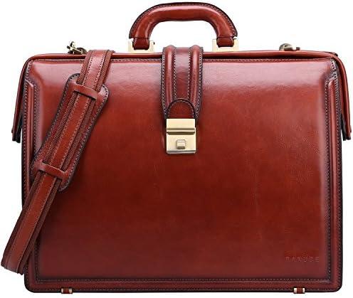 Banuce Lawyer Briefcases for Men Full Grains Italian Leather Doctors Bag Lock 15 Inch Laptop Attache Case Business Legal Attorney Litigation Bag