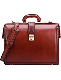 Lawyer Briefcases for Men Full Grains Italian Leather Doctors Bag Lock 15 Inch Laptop Attache Case Business Legal Attorney Litigation Bag