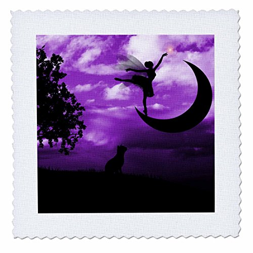 3dRose qs_111099_3 Fairy Dancing on Crescent Moon with Cat and Purple Sky Quilt Square, 8 by 8-Inch