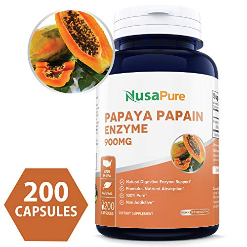 - Papaya Papain Enzyme 900mg 200caps (Non-GMO & Gluten Free) Digestive Enzymes with Papain, Supports Better Digestion & Weight Control - Made in USA - 100% Money Back Guarantee!