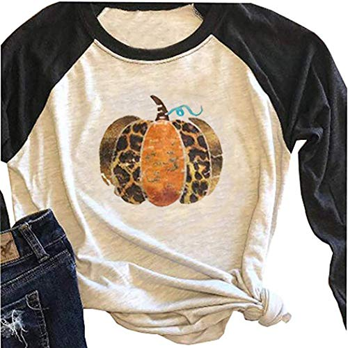 Best Halloween Themed Movies All Time (BANGELY Fall Pumpkin Cute T Shirt Leopard Graphic Tees for Women 3/4 Sleeve Raglan Thanksgiving Shirts Casual Baseball Tops)