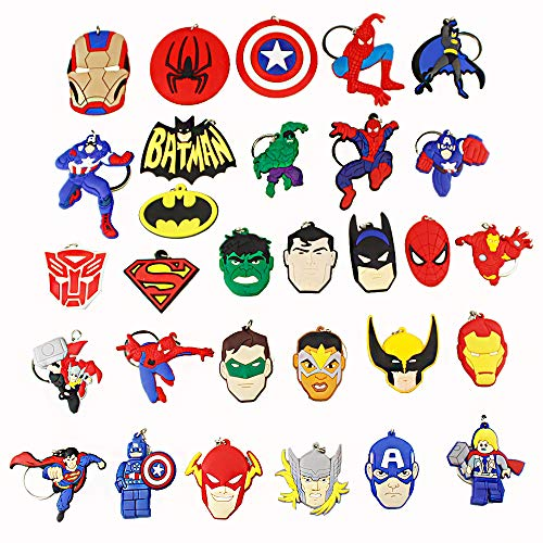 Melleco 30pcs Keychain Key Tags Superhero Goodie Bag Stuffer Christmas Gift Holiday Charms for Kids Birthday Party Favors School Carnival Reward Prizes Decoration Collectible -