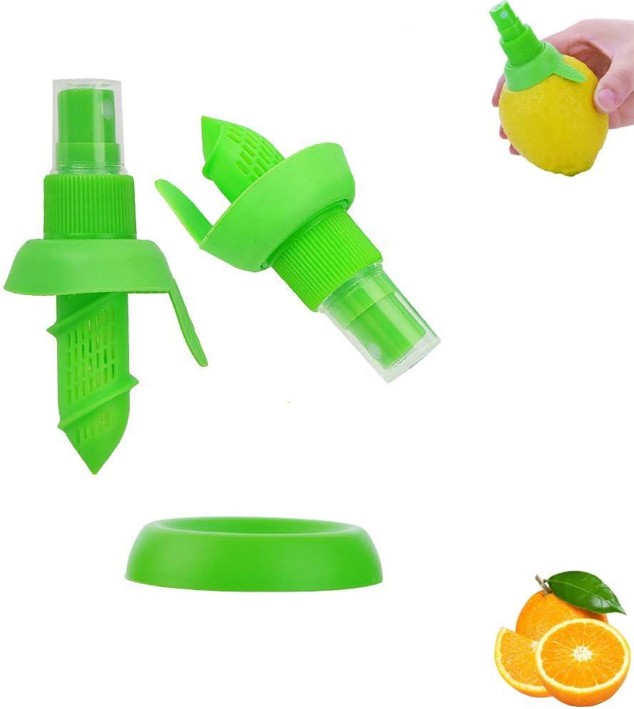 Lemon Juice Sprayer, 2Pcs Manual Orange Juice Citrus Spray with Holder Plate, Green Citrus Sprayer Set, Lemon Squeezer for Salads Seafood Vegetables (Green-1)
