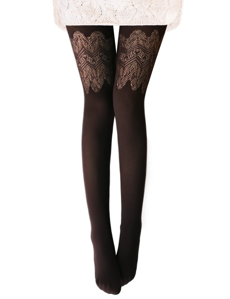 Vero Monte 1 Pair Women's Hollow Out Knitted Patterned Tights (Coffee) 4462