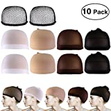 PIXNOR 10Pack Wig Caps ,Nylon Net Mesh Wig Caps Neutral Nude White Brown and Black