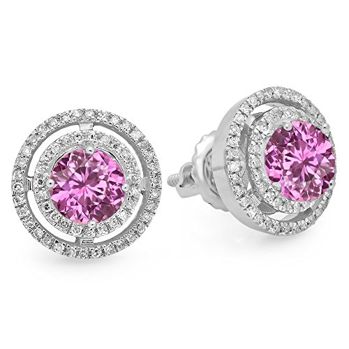 14K White Gold Round Pink Sapphire & White Diamond Ladies Halo Style Stud Earrings